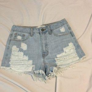 White washed distressed denim shorts